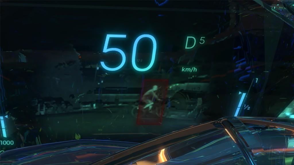 Hastighet och andra indikatorer visas över en bild av vad som sker framför bilen på natten